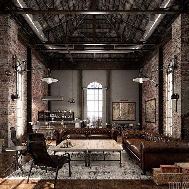 Decoration Salon Chesterfield Loft Table Basse Xxl Deco Style Industriel Deco Maison Style Loft