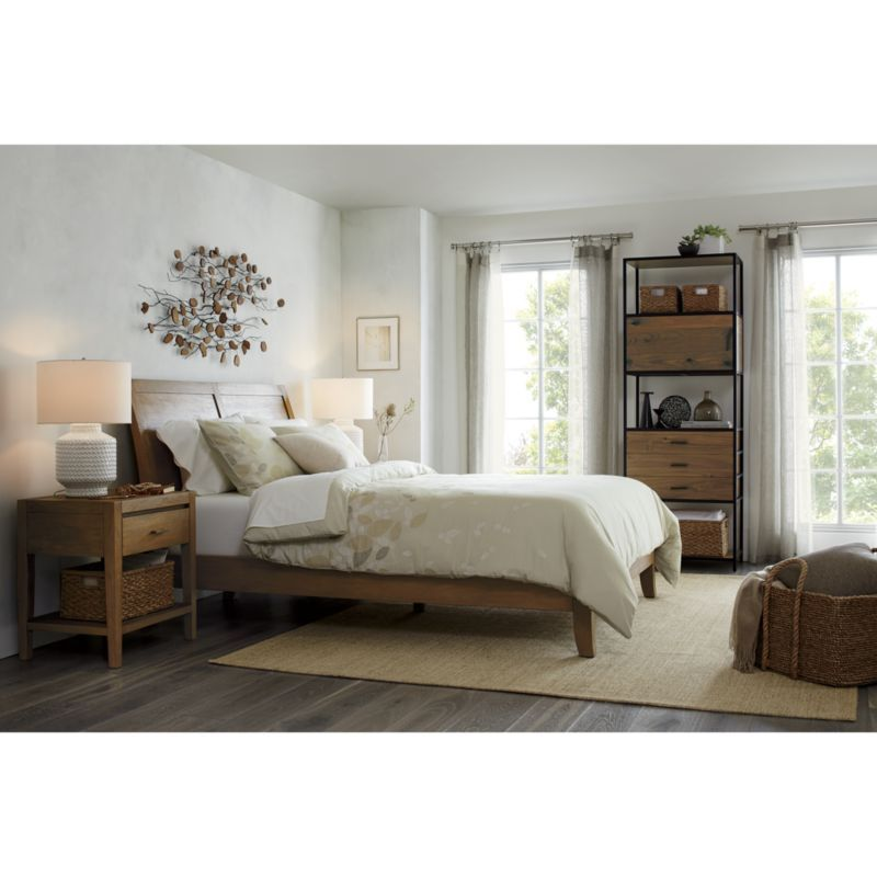 Dawson Grey Wash Queen Sleigh Bed | Crate and Barrel | $1,099.00