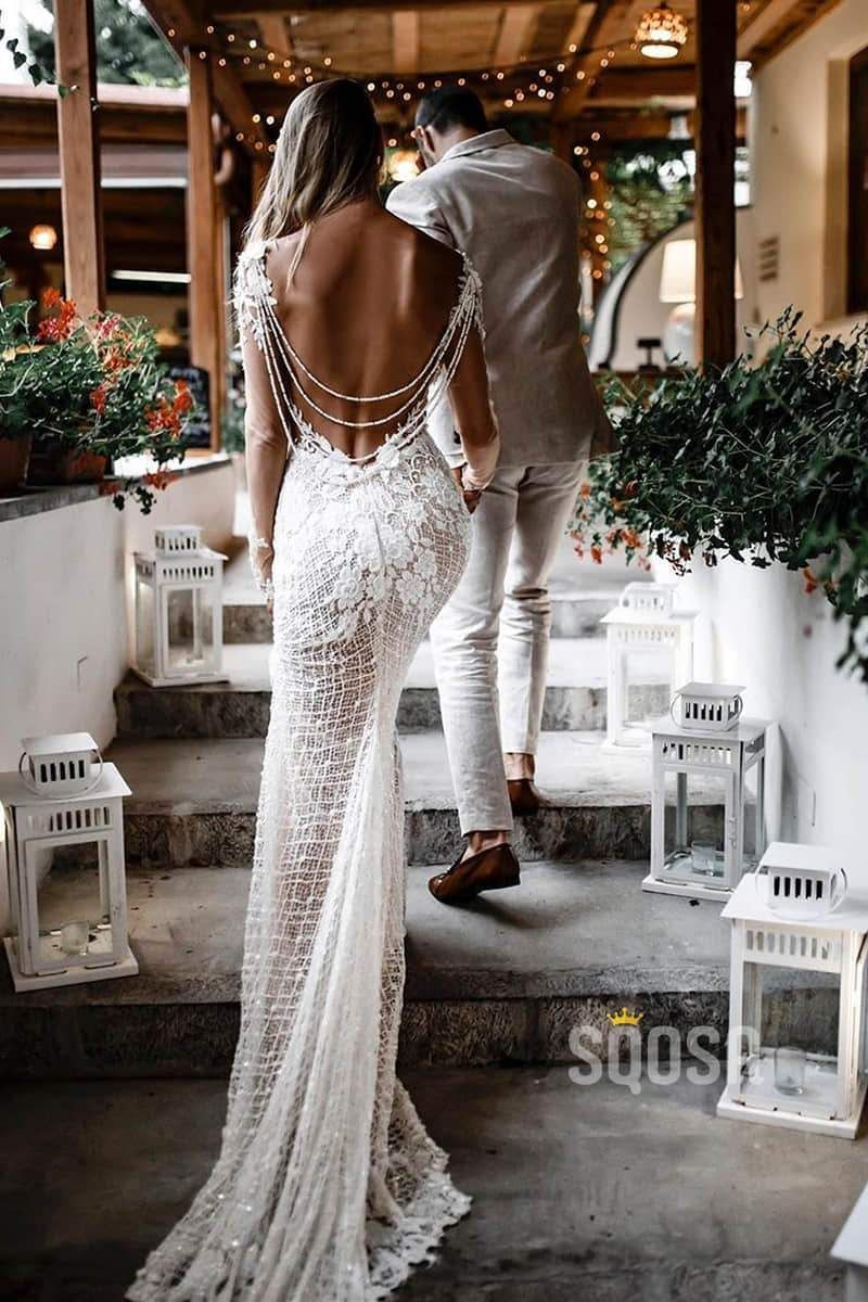 Unique Bateau Illusion Long Sleeve Luxury Lace Mermaid Wedding Dress Bridal Dress QW0818 2
