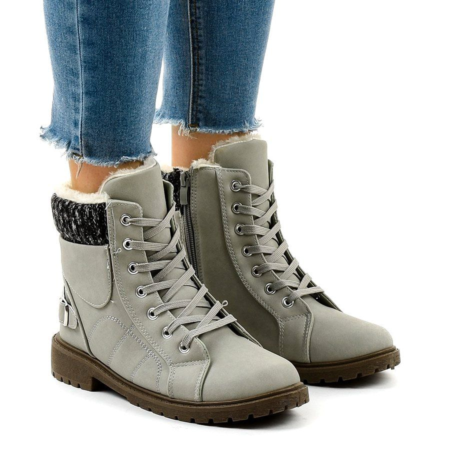 Szare Ocieplane Trapery Nr02 4 Hiking Boots Women Boots Hiking Boots
