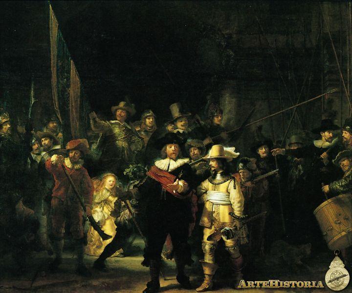Rembrandt La Ronda De Noche 1642 Rijksmuseum Amsterdam Resaltó A Sus Ppales Clientes El Capitán Y S Pinturas De Rembrandt Rembrandt Pintura Del Barroco