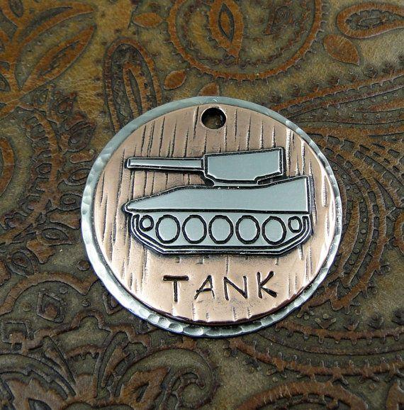 Custom Dog ID Tag Tank,Pet ID Tag,Dog Collar ID Tag,Personalized Pet Tag,Handmade Tank Dog Tag