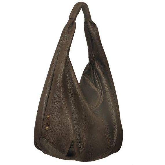 Hobo Bag In Italian Soft Grained Chocolate Brown Leather Named Daria Made To Order