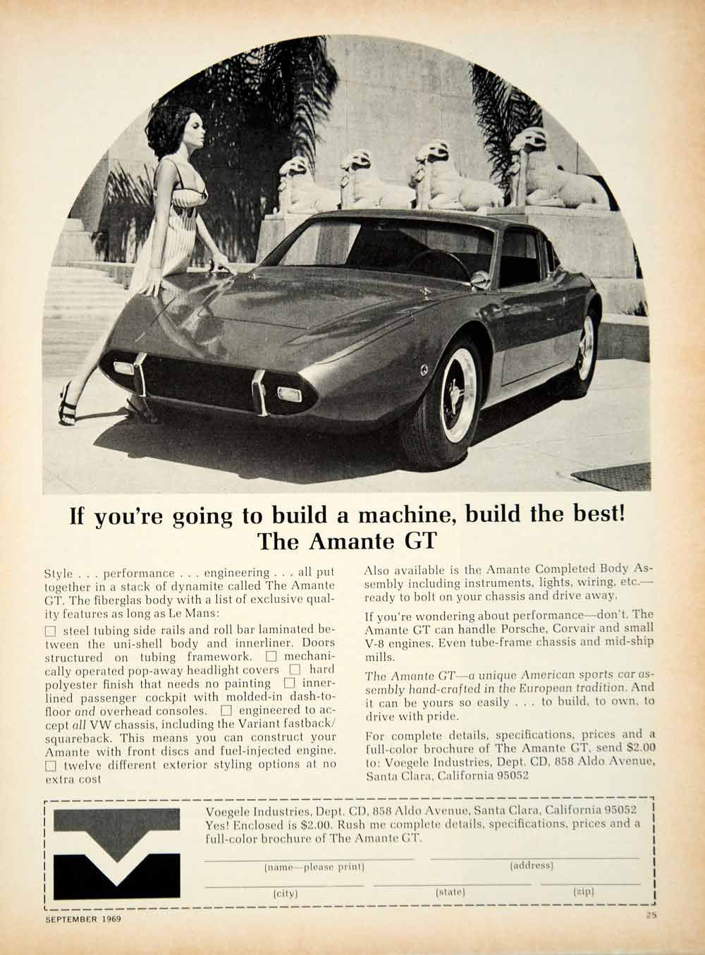 1969 Ad Amante GT Fiberglass Body Kit Sports Car 2 Door Coupe VW Chassis  YCD7