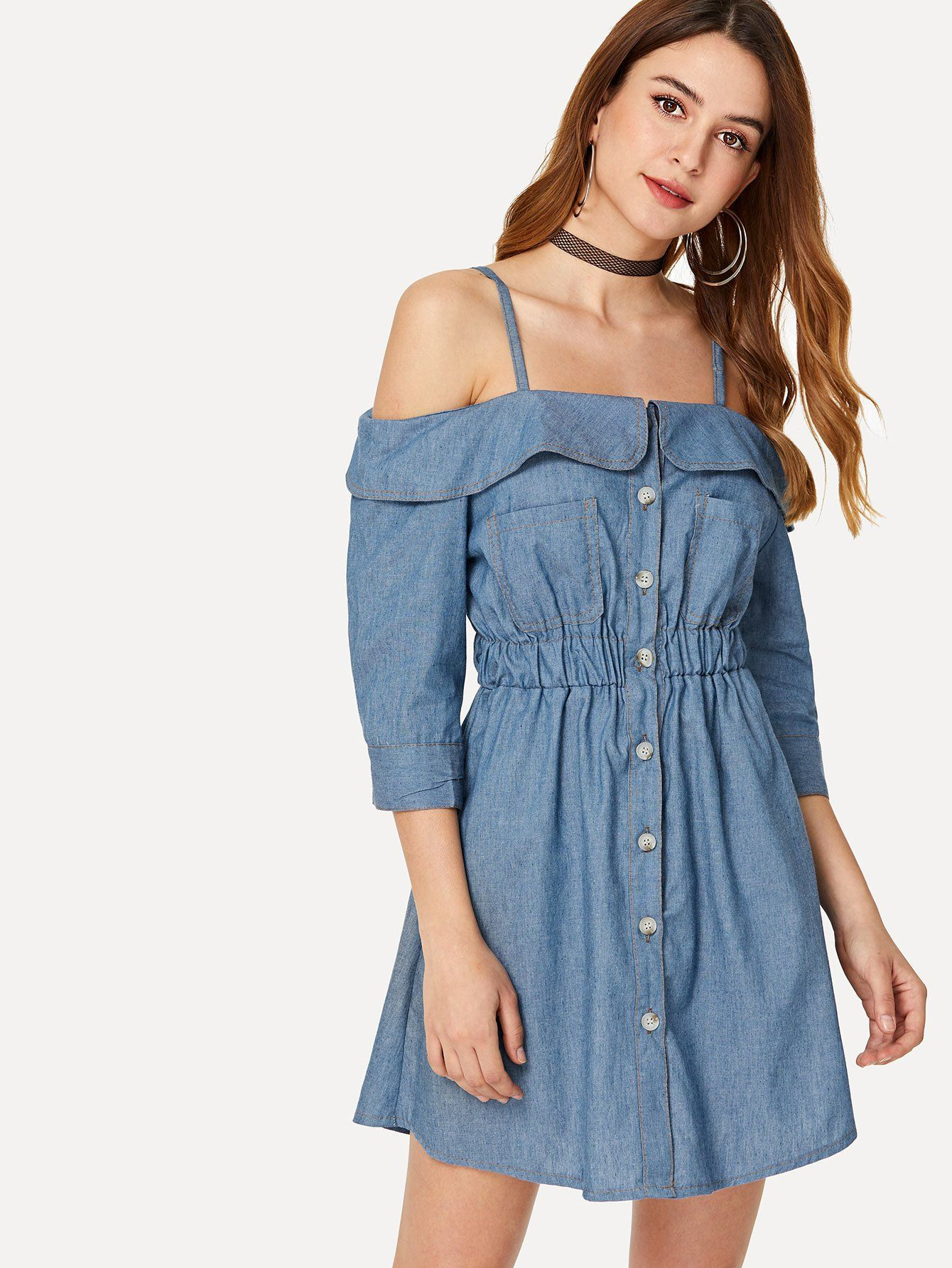 Off The Shoulder Denim Dress Denim dress, Denim outfit