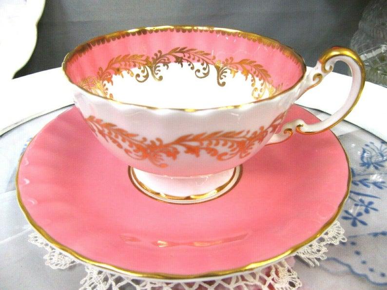 Pink Aynsley Teacup & Saucer, England #teacups