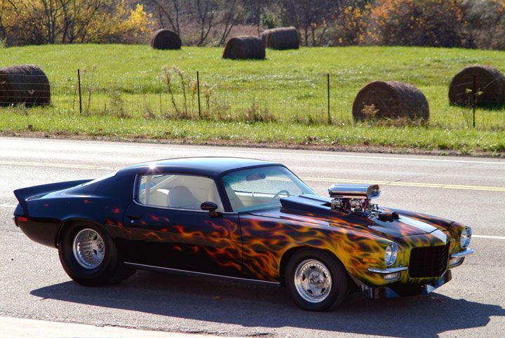 American Muscle Cars With Flames Just Needs Skulls In The Flames
