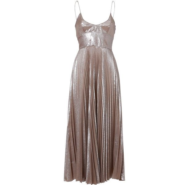 ROCHAS Silk Blend Pleated Dress in Silver ($1,312) ❤ liked on Polyvore featuring dresses, gowns, silver metallic dress, shimmer dress, brown midi dress, strappy dress and glamorous dresses