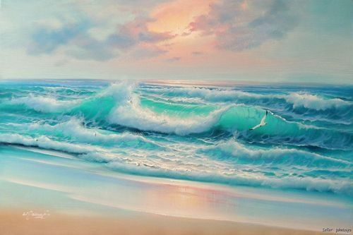 Beautiful Ocean Sunset Painting Ocean Painting Sunset Painting