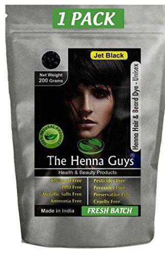 Jet Black Henna Hair Color Dye 200 Grams 2 Step Process The