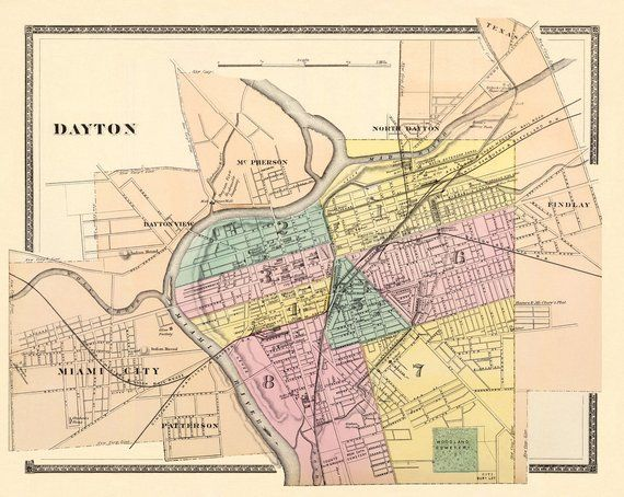 Old Map Vintage Map Of Dayton Archival Reproduction On