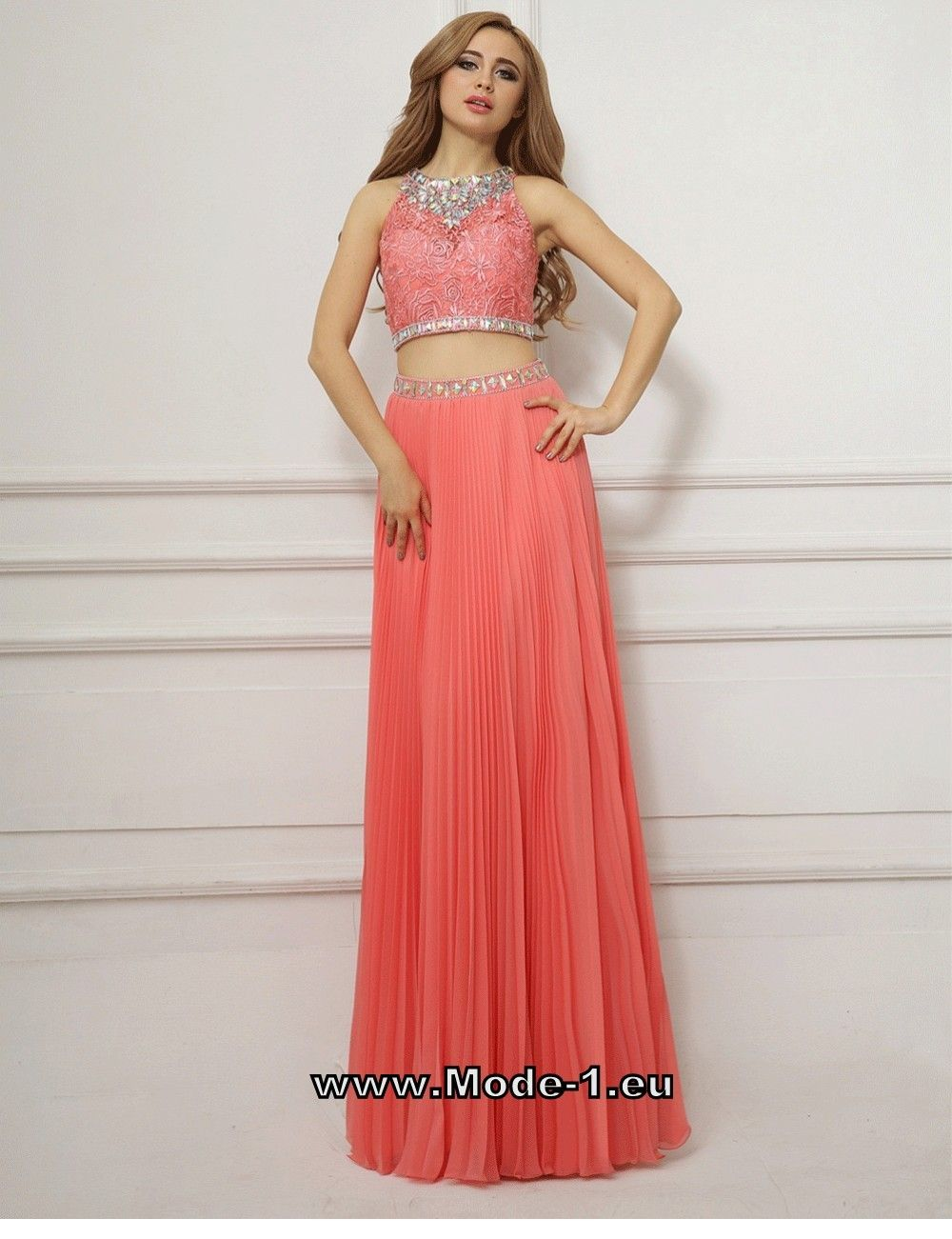 16 teiliges Abendkleid Amiah Lachs - Online & Trend Farben ✓ Must