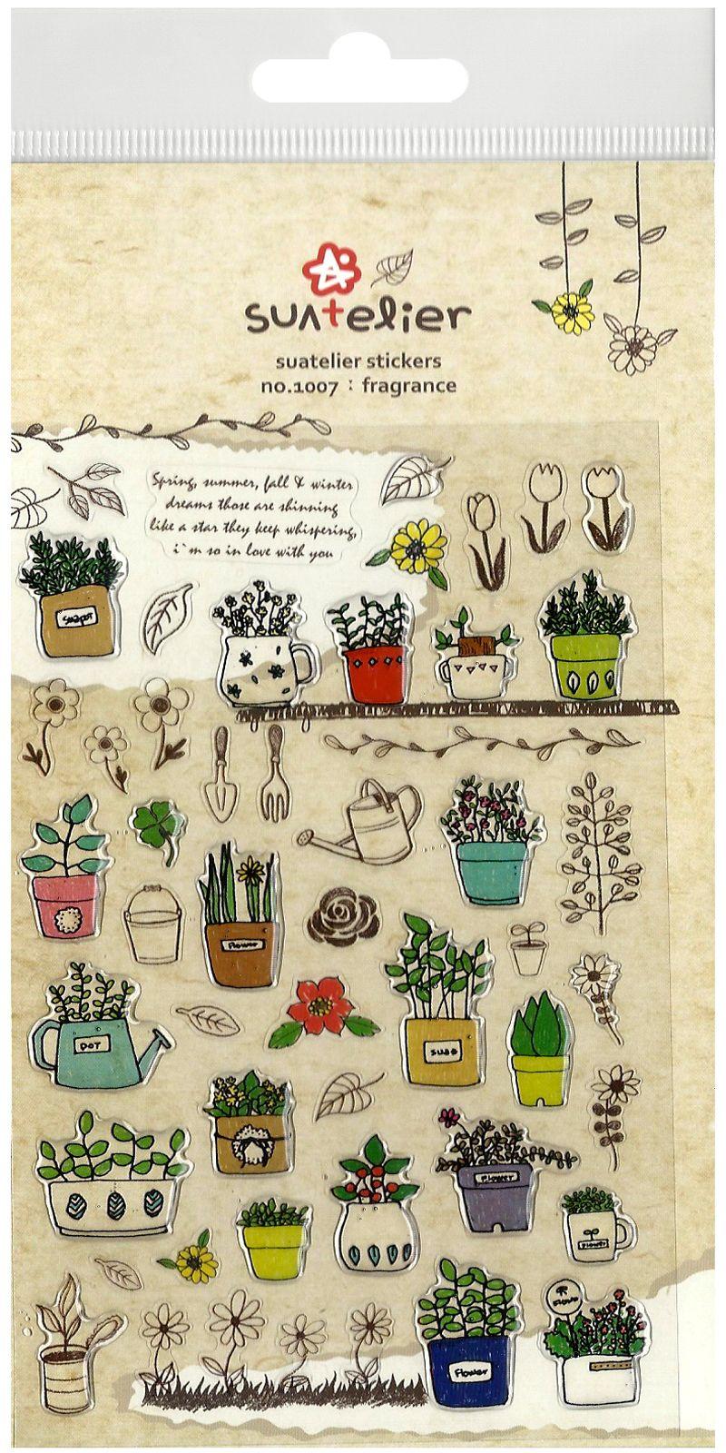 Suatelier Floral Garden Kawaii Die-Cut Sticker Sheet