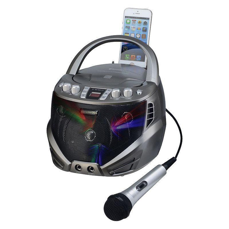 Karaoke USA Bluetooth Portable CD-G Karaoke Player with Flashing LED Lights #karaokeplayer Karaoke USA Bluetooth Portable CD-G Karaoke Player with Flashing LED Lights, Multicolor #karaokeplayer