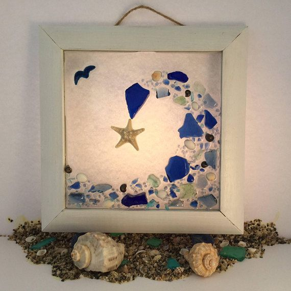 Waves of the Sea, Cobalt Blue Seashell, Armored Starfish framed art ...
