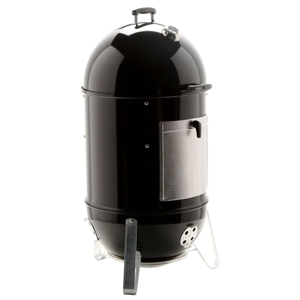 Weber 22 In Smokey Mountain Cooker Smoker In Black With Cover And Built In Thermometer 731001 The Home Depot Smokey Mountains Weber Smokey Mountain Cooker Thermometer