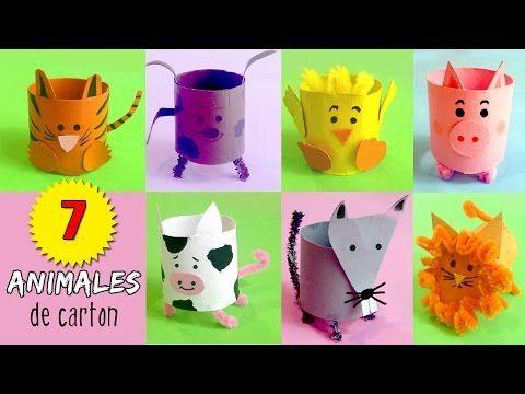 7 animales de cart n manualidades de reciclaje de tubos - Youtube manualidades de papel ...