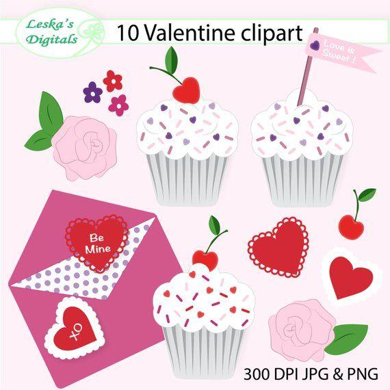 Valentine Digital Clip Art Valentine Clipart Collection Cupcake