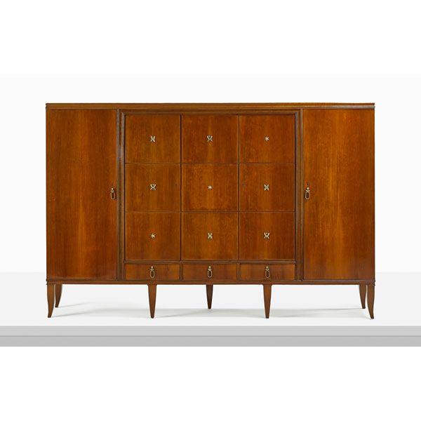 Gio Ponti; Cherry and Bronze Cabinet, 1928.