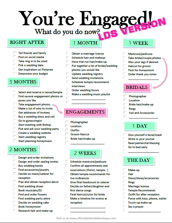 Finally A Wedding Checklist For Lds Short Engagement Brides Free Pdf Download At Affordablebridalb Future Wedding Plans Short Engagement Wedding Checklist