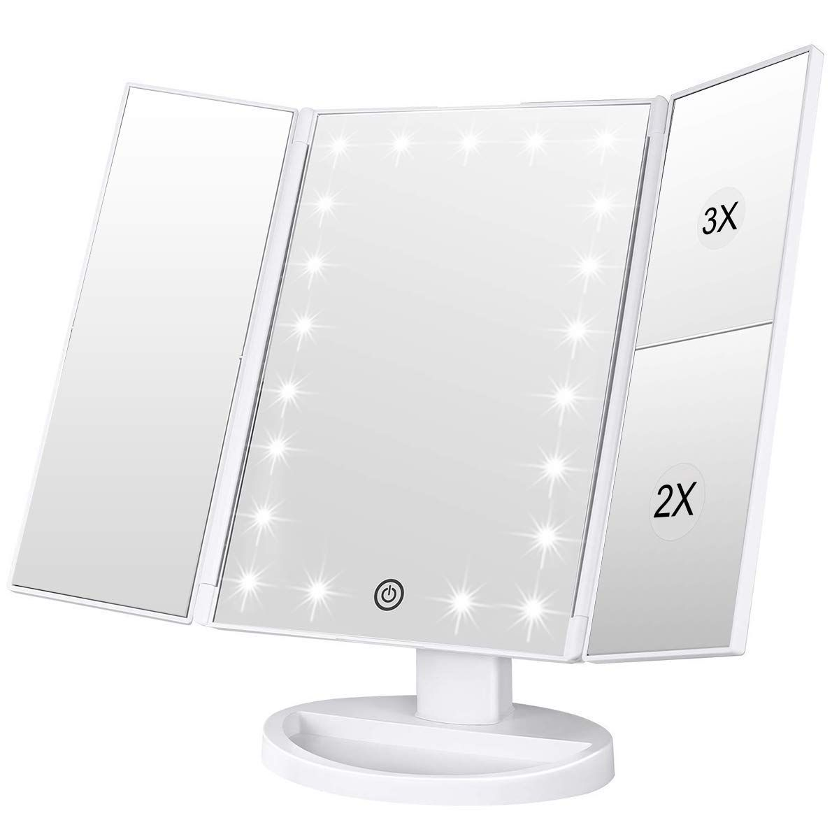 Weily 3 Seiten Kosmetikspiegel Mit 21 Led Beleuchtungen 1x 2x 3x Vergrosserung Touch S In 2020 Schminkspiegel Mit Beleuchtung Schminkspiegel Spiegel Mit Beleuchtung