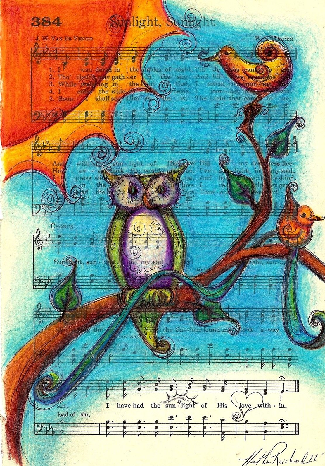 Sunlight, Owl sitting in a tree. Colored pencil drawing on a vintage ...