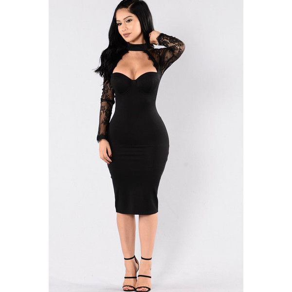 Black Floral Lace Long Sleeve Cutout Halter Sexy Bodycon