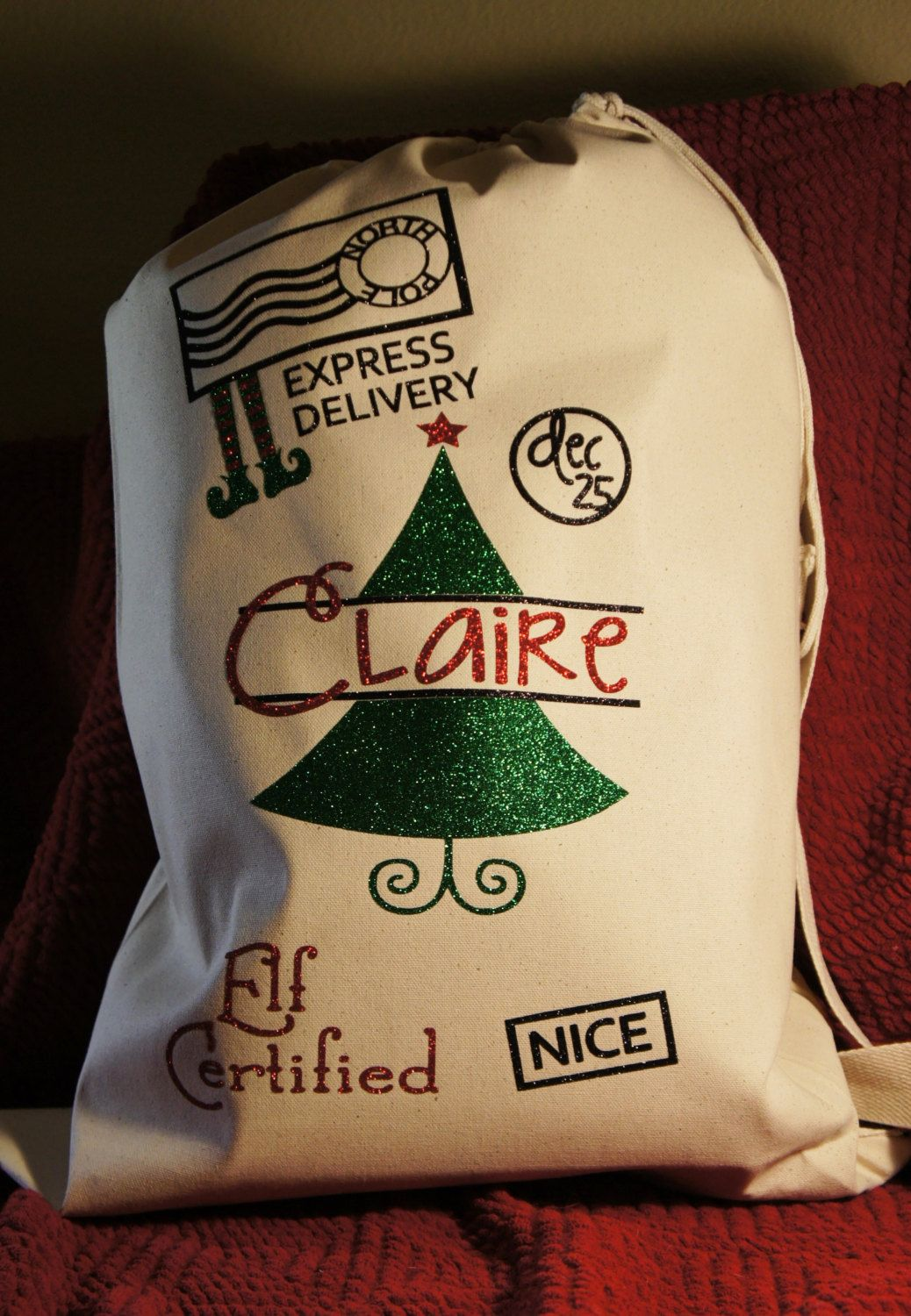 Personalized Santa Sack!  Customized canvas bag - Elf Certified!  Customize for name and colors! - pinned by pin4etsy.com