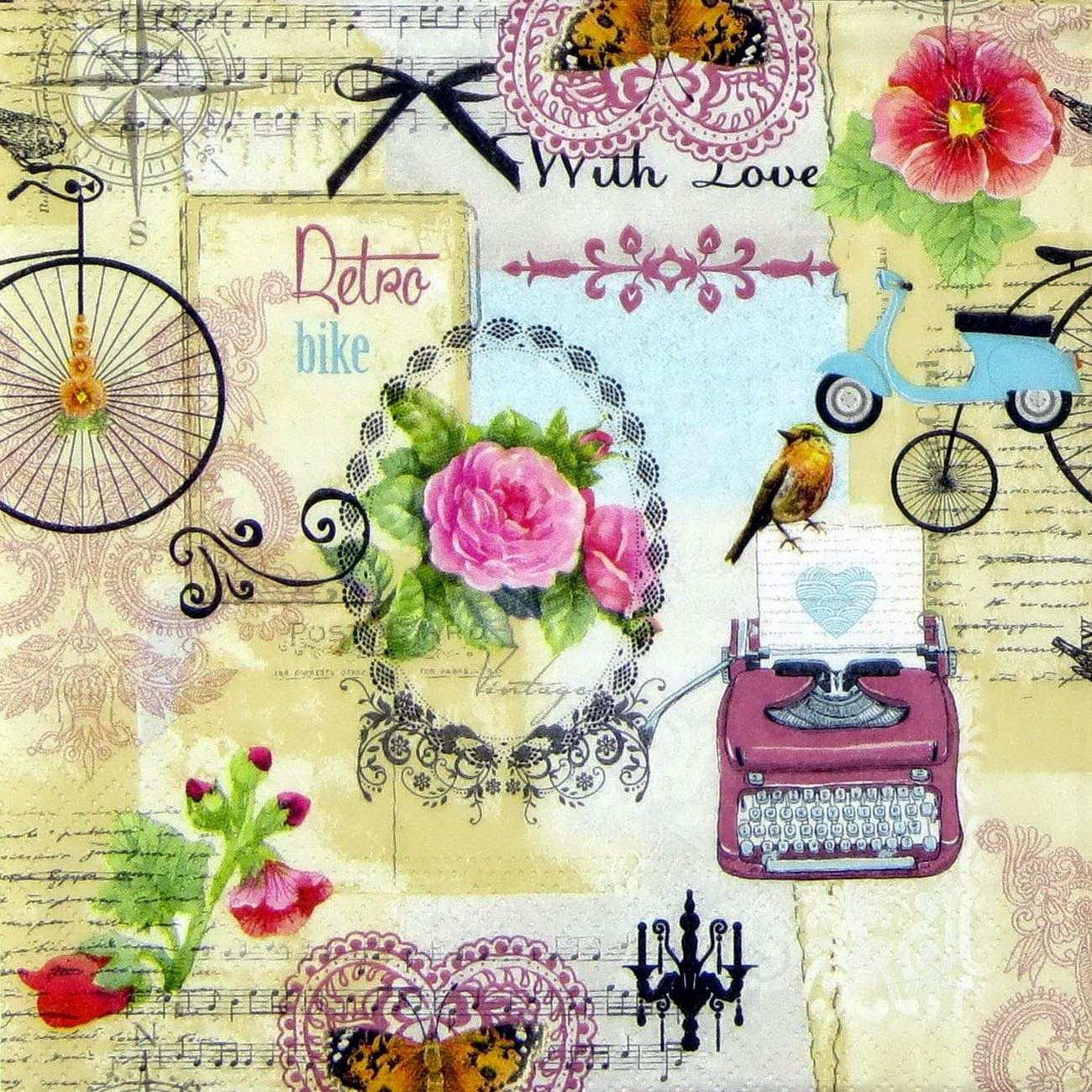 Chica De Papel De Arroz Y Letras Vintage Para Decoupage Scrapbook Craft 35