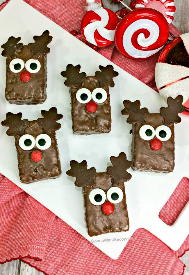 Reindeer Rice Krispies Treats (No Bake!)