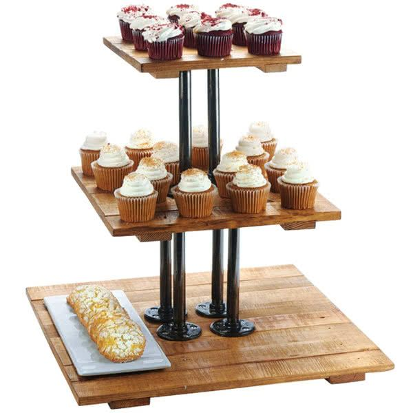 Cal Mil 3428 99 Madera Rustic Pine 3 Tier Pastry Display Riser 20 3 4 X 20 3 4 X 20 Pastry Display Display Risers Dessert Display
