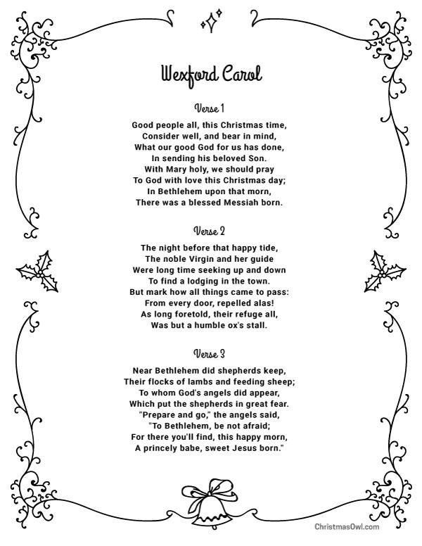 Christmas Carol Lyrics In Excelsis Gloria, Free Printable
