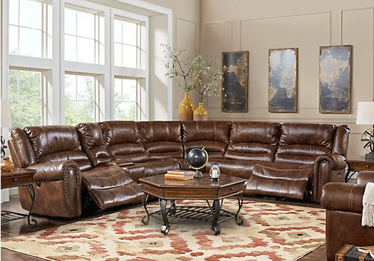 Picture Of Tacoma Valley Brown 9 Pc Power Reclining Sectional Living Room  From Living Room Sets Furniture Part 78
