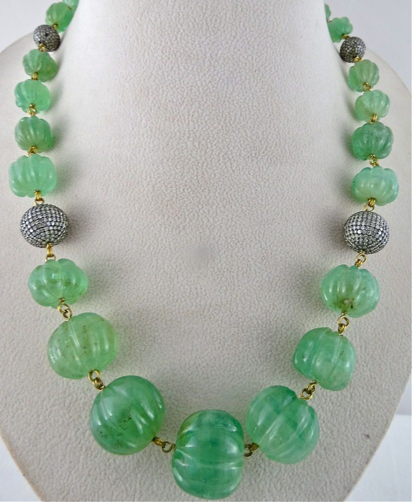 LINE 1/CTS 550 NATURAL COLOMBIAN EMERALD MELON BEADS. OUR NAME IS ...