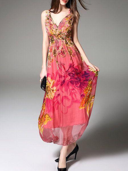 Beach Silk Spaghetti Fl Print Maxi Dress