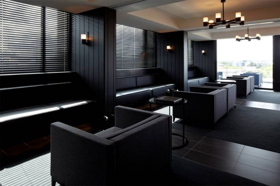 Modern Hotel Breakfast Area and Lounge Interior Design with Dark ...
