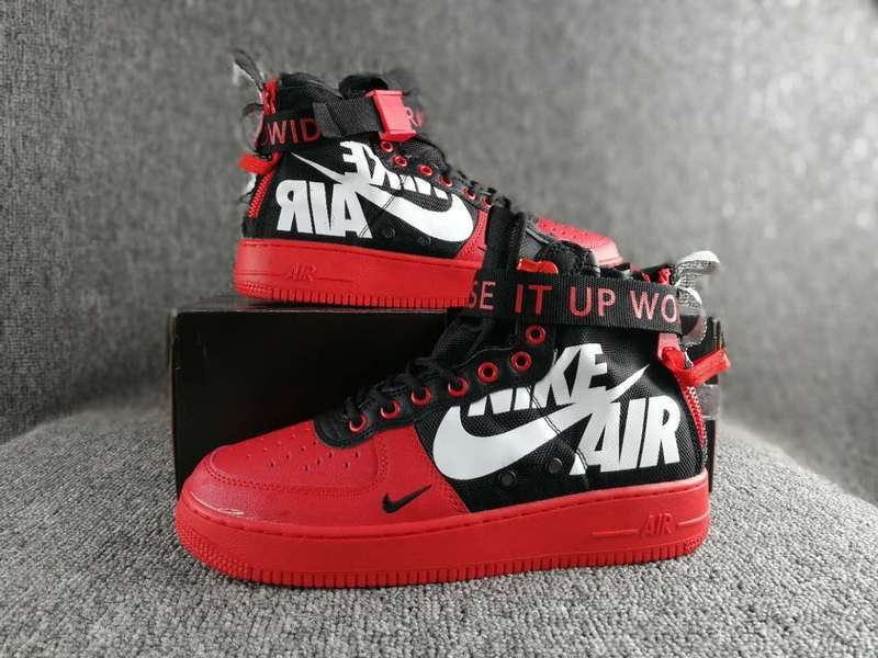 big sale 22f6e 478c7 Nike Special Field SF AF1 Mid air force treasure Red zipper Plate shoes