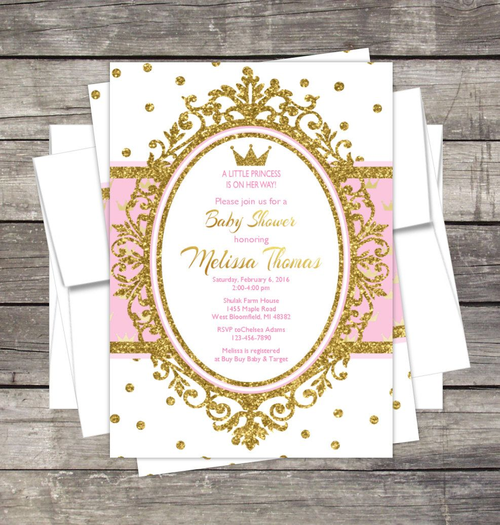Royal Princess Baby Shower Invitation, Pink, Gold, Glitter, Crown ...
