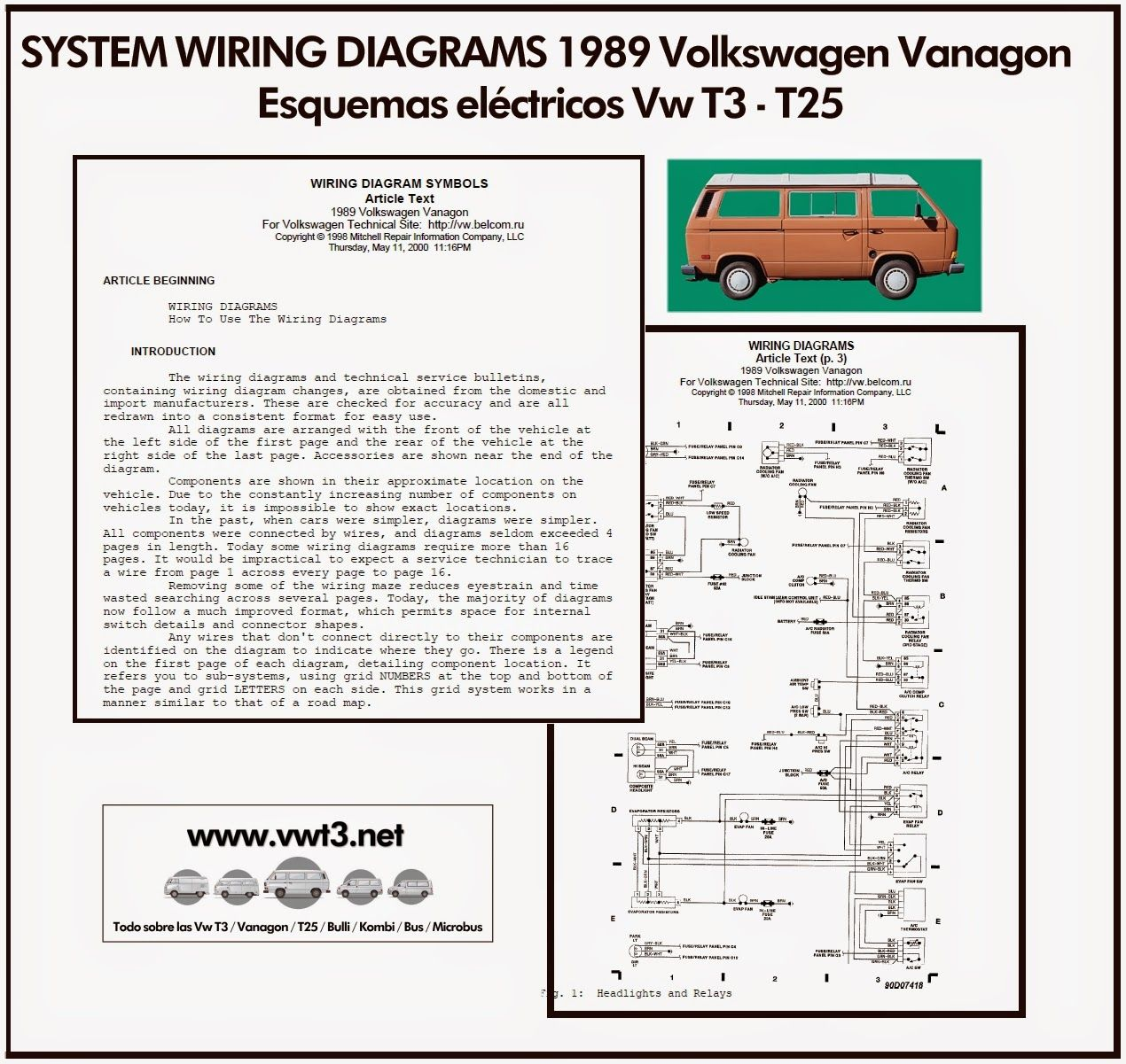 Vw T3 T25 SYSTEM WIRING DIAGRAMS 1989