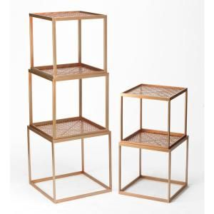 Rose Gold Stackable Etagere Open Bookcase 17920 The Home Depot