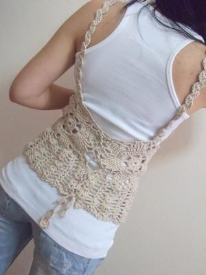 crocheted vest, this would be the front.