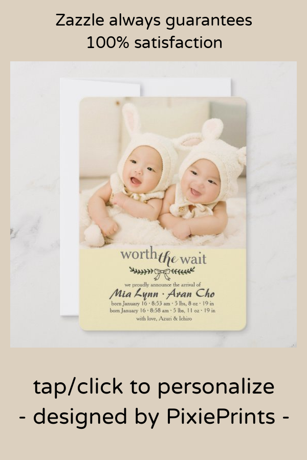 Worth The Wait Yellow Photo Birth Announcement