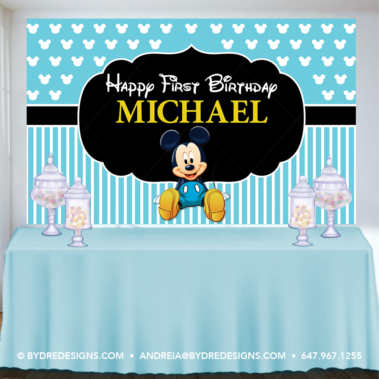 Mickey Mouse First Birthday Backdrop Baby Mickey Mouse Banner Blue Mickey Mouse Birthday Mickey Mouse Decoration Disney Backdrop In 2020 Mickey Mouse First Birthday Happy First Birthday Birthday Backdrop