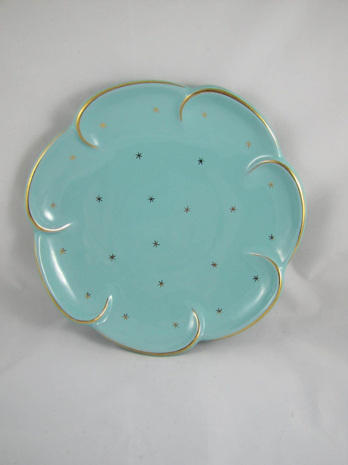 Turquoise Decorative Bowl Vintage Turquoise And Gold Mid Century Bowl Gold Starburst