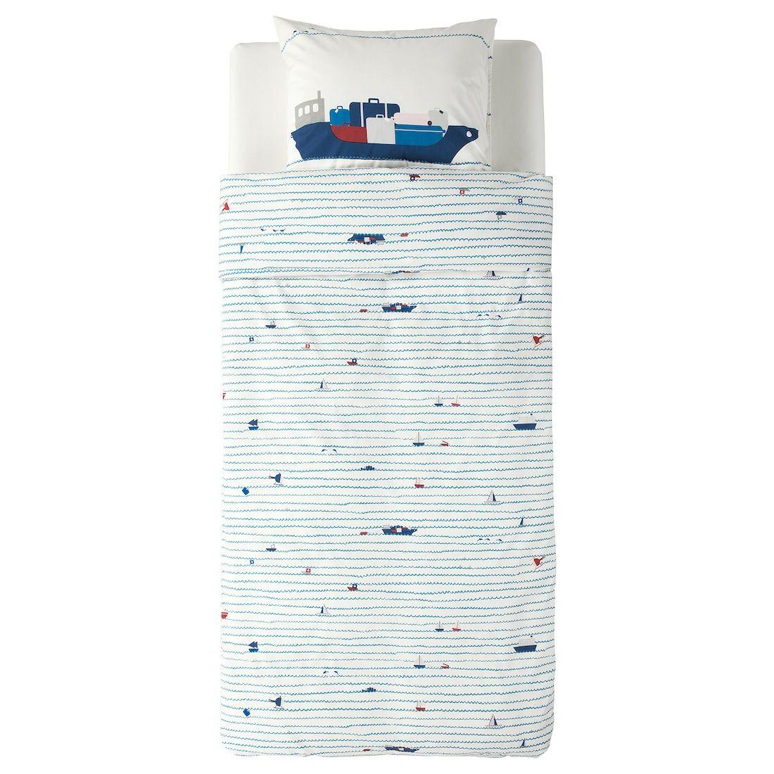 Ikea Upptag Housse De Couette Et Taie Motif Vagues Bateaux Bleu Housse De Couette Couette Et Housses