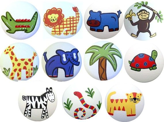 Hand Painted Jungle Safari Drawer Pull S By Lisaeverettdesigns