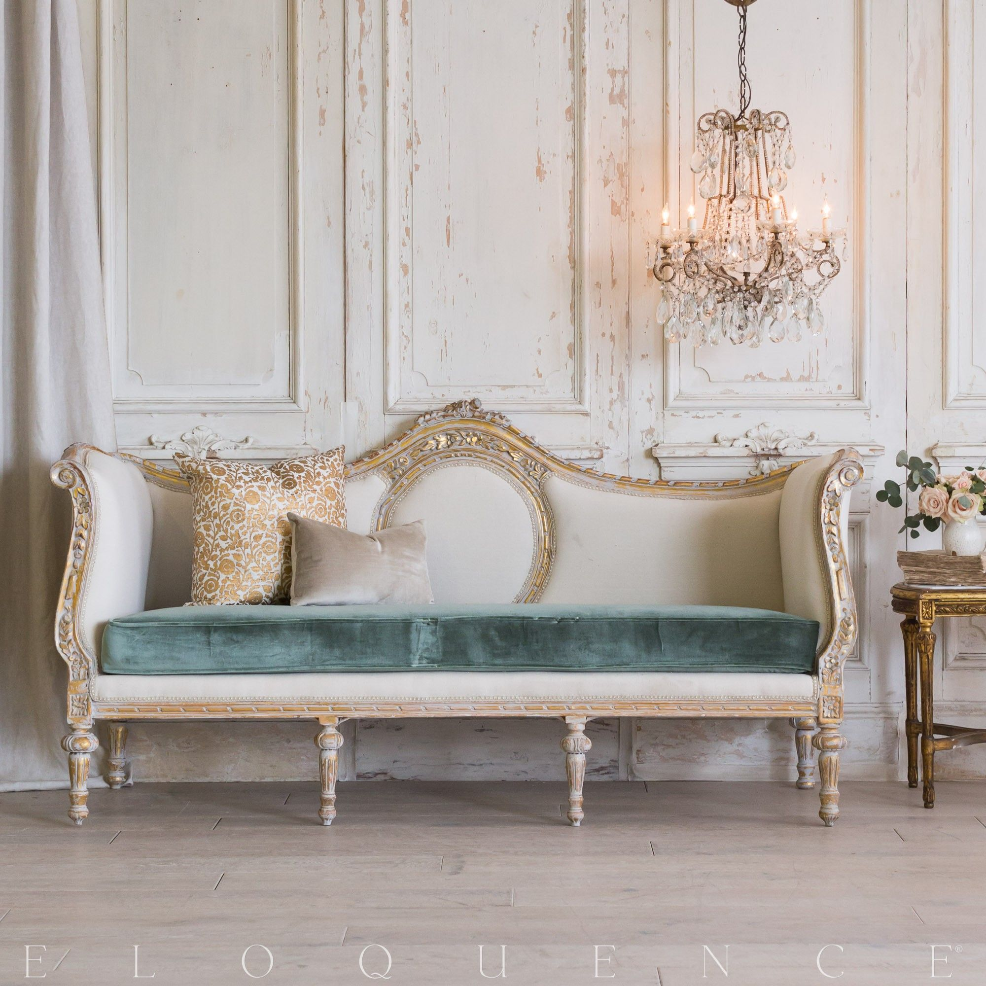 An Absolutely Stunning Daybed In A Bright Washed Gilt Lovely Floral Carvings Adorn The Frame And The Beau Luxury Living Room Design Sofa Design Bedroom Decor