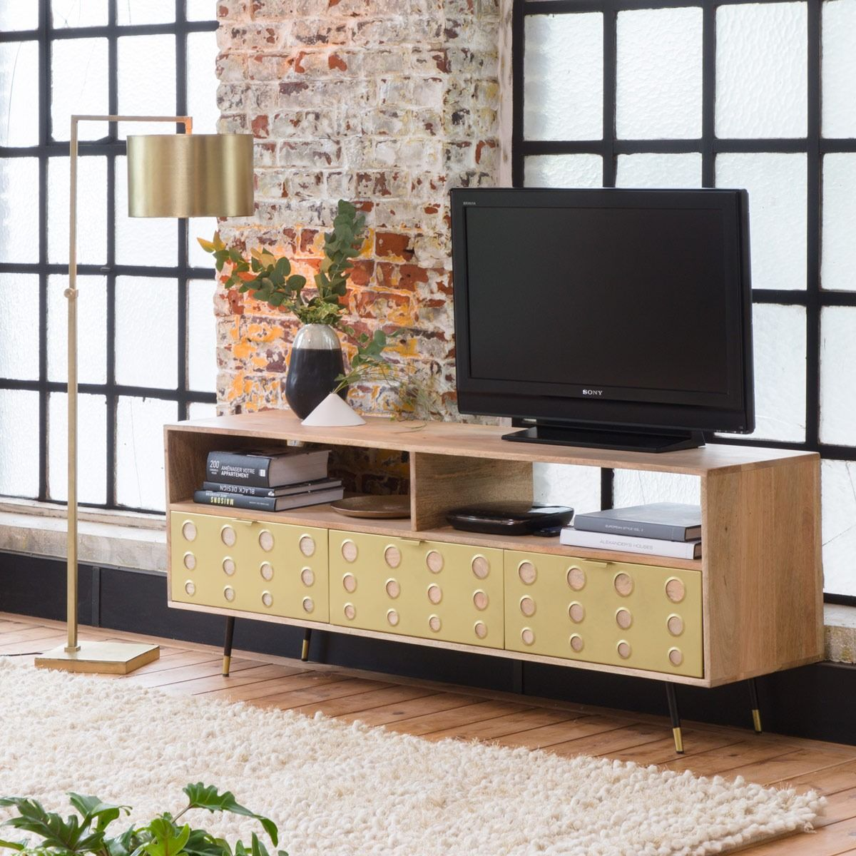 meuble tv retro dore 3 tiroirs 2 niches