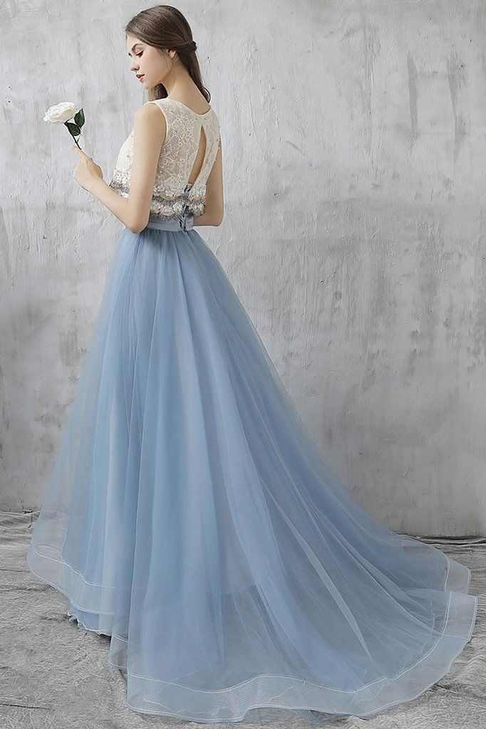 Two Pieces A-line Scoop Floor-length Tulle Blue Prom Dress Evening ...