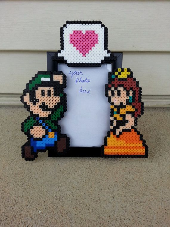 Luigi and Daisy Picture Frame  perler beads by BurritoPrincess